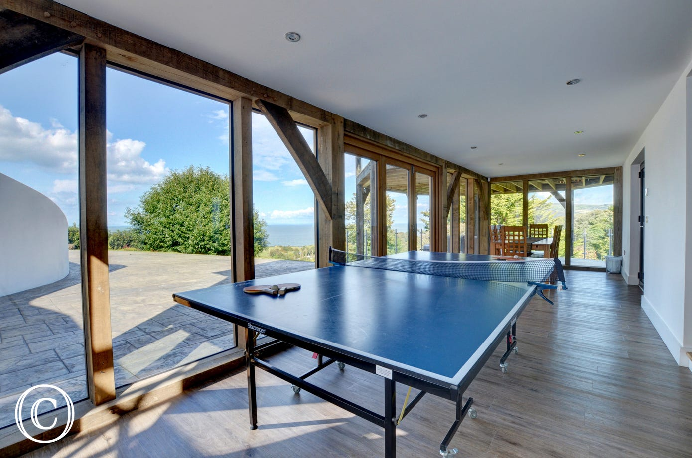 The spacious table tennis room