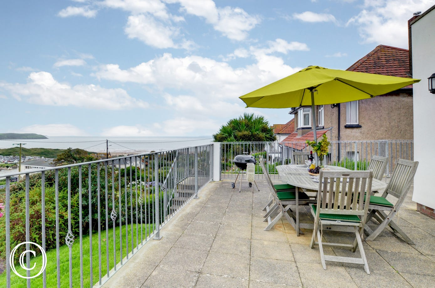 A large private south facing terrace with excellent views
