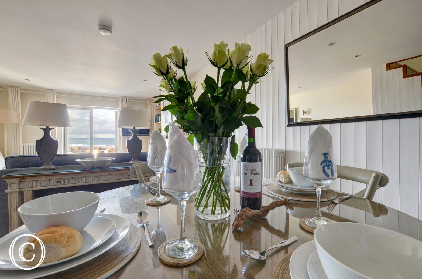 Enjoy fine dining around the stylish dining table