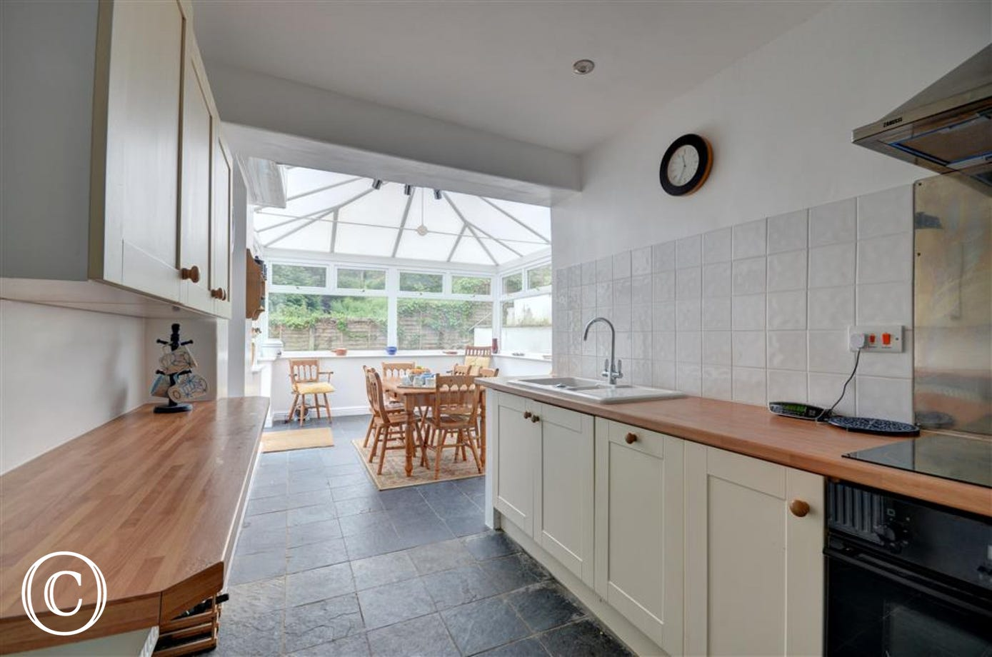 Kitchen leading onto the conservatory