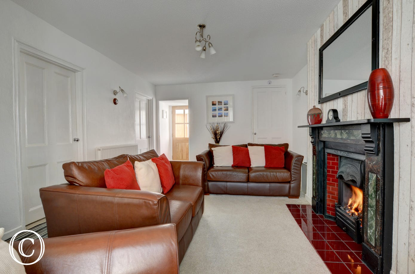 Comfortable leather sofas in the sitting room