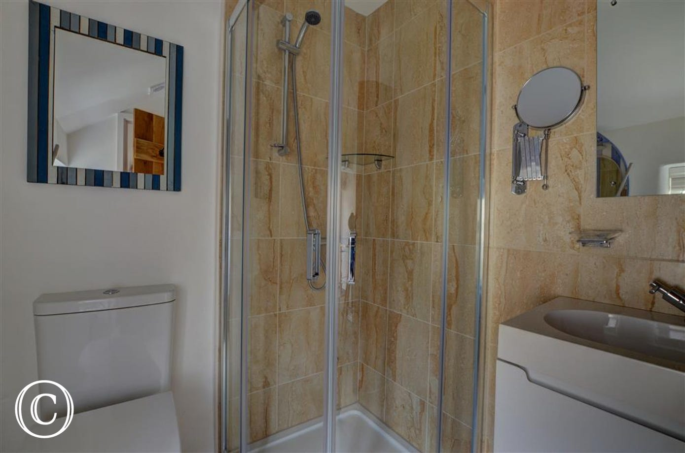 The upstairs bathroom with shower