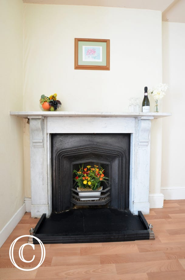 Feature fireplace in the kitchen