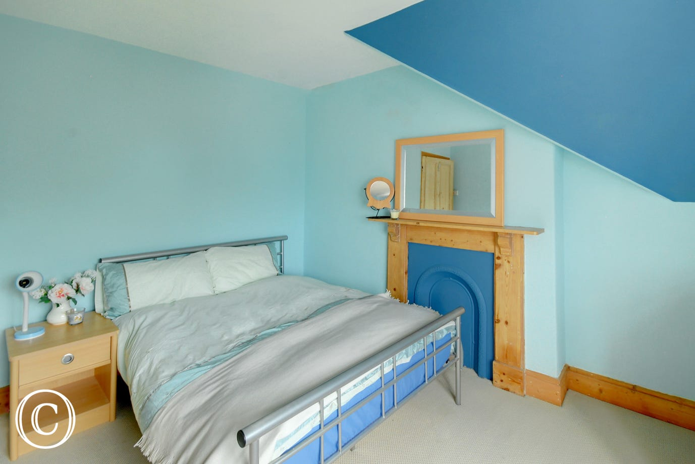 Bedroom 3 with double bed and lovely sea views