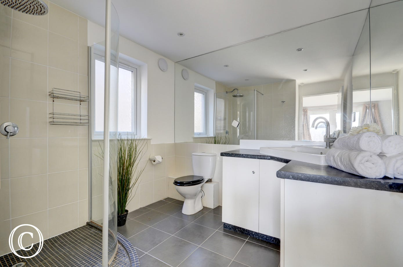 Spacious ensuite bathroom with walk-in shower