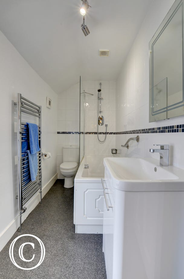 Modern style bathroom with shower over bath