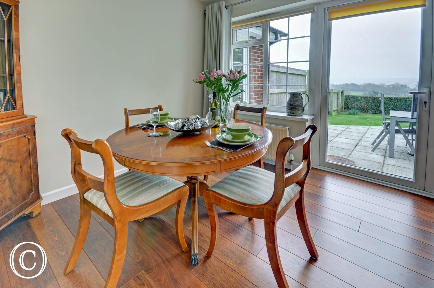 Dining area which leads out onto the patio and garden