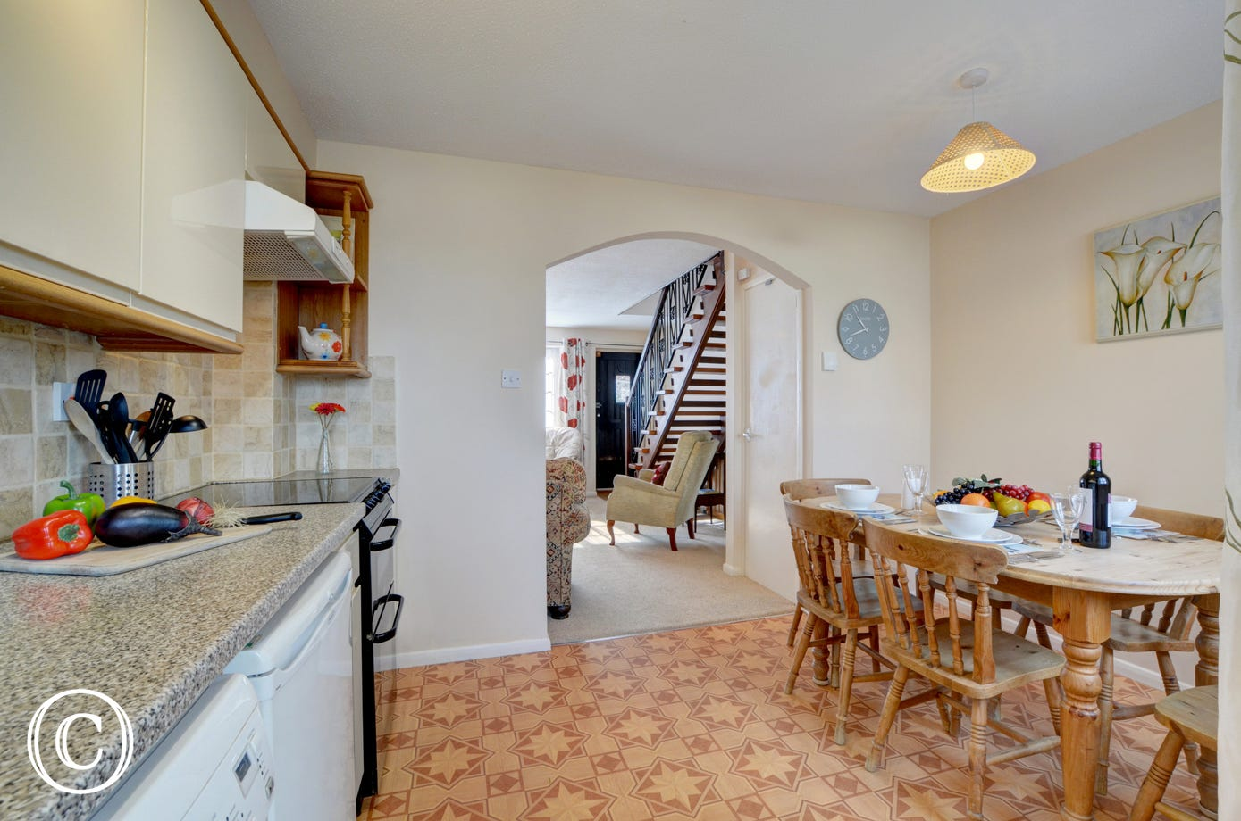 The open plan sitting room and kitchen feels spacious and great for socialising