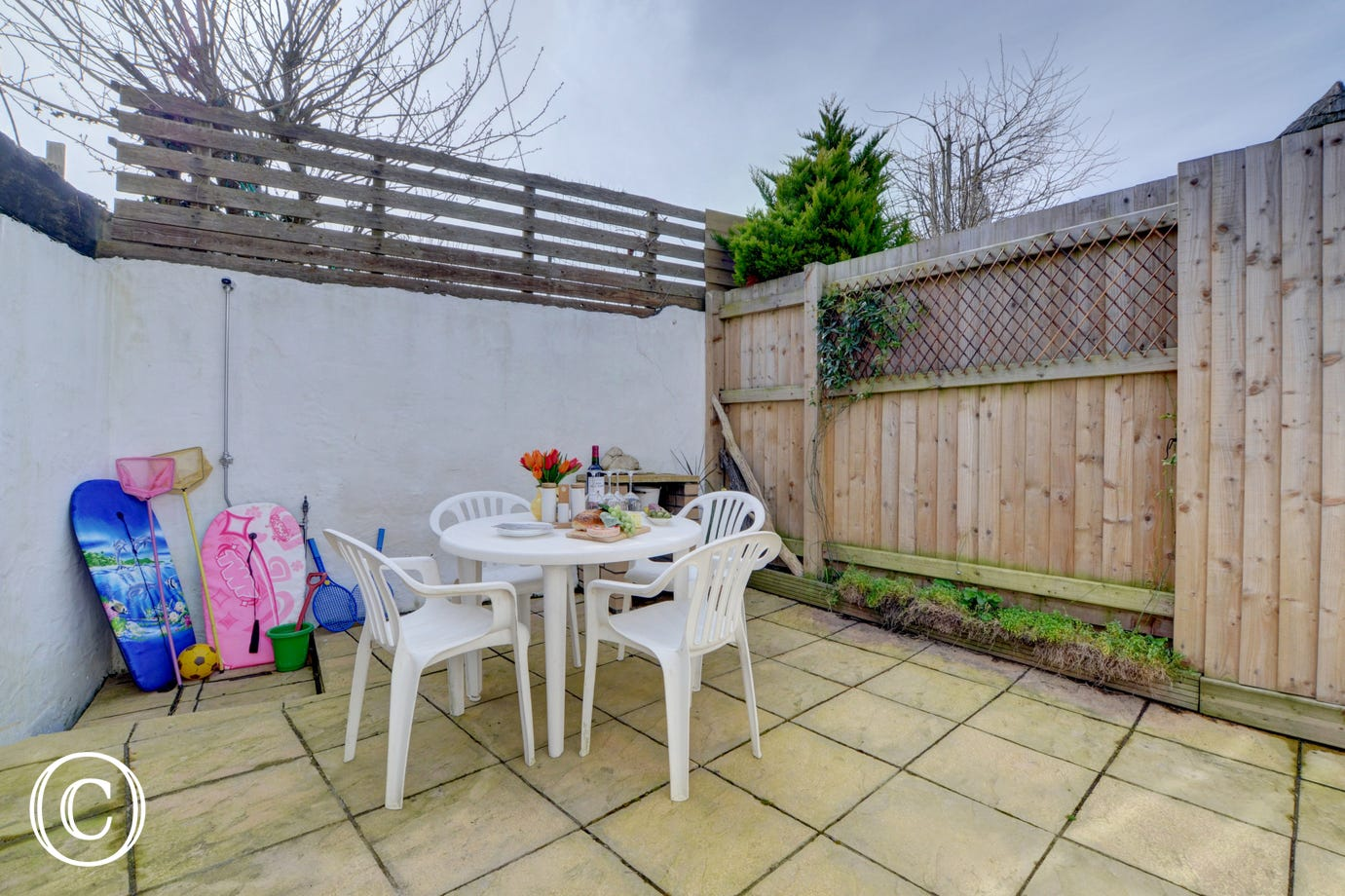 You own private patio area which is enclosed and has an outdoor shower