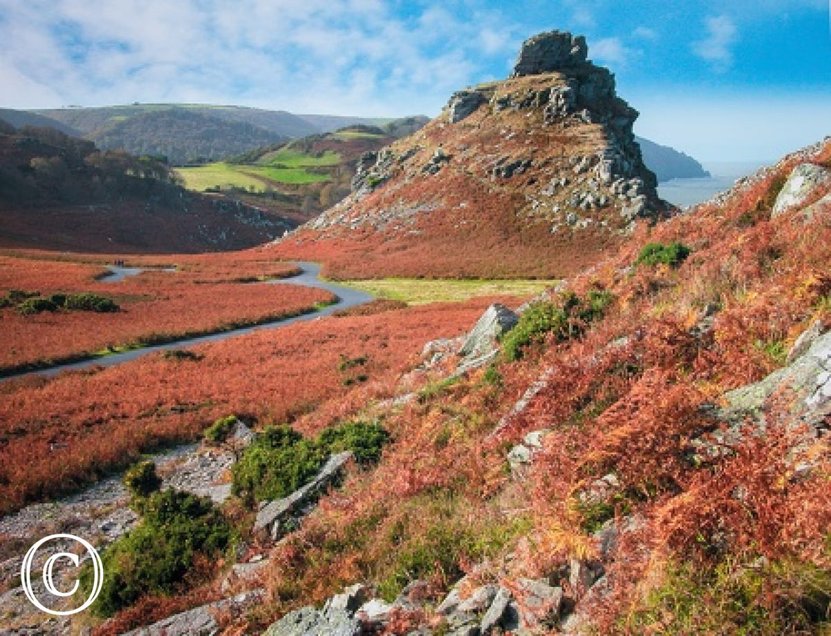The beautiful scenery of Valley of Rocks is a short drive away
