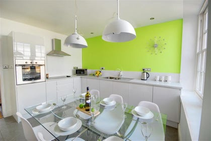 There is a modern and contemporary feel about the kitchen