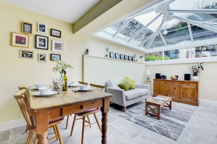 Surprisingly spacious open plan room offers a pristine modern kitchen/diner with underfloor heating
